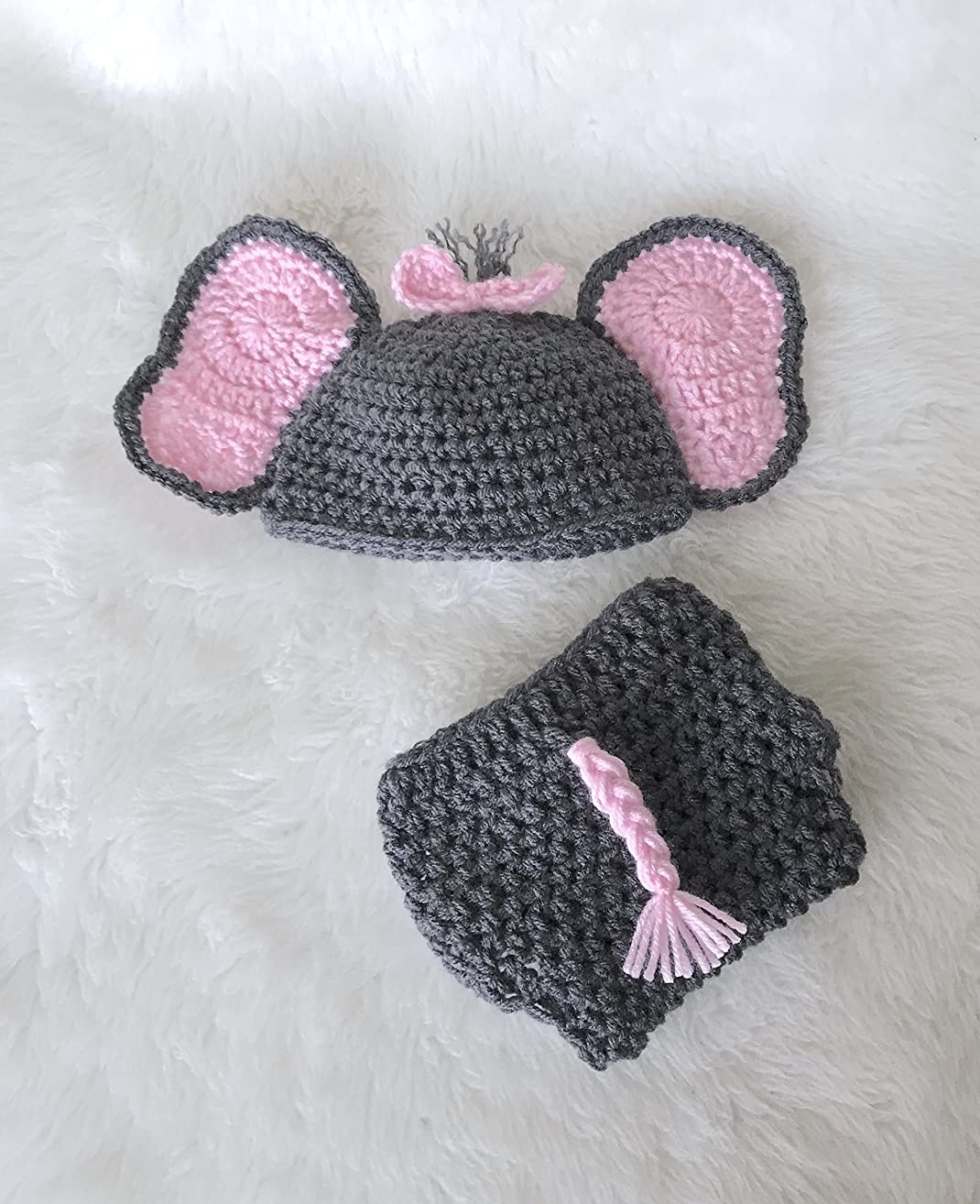 Elephant Baby Stuff Hat Diaper Cover Gift Set Grey and Pink 2 Piece