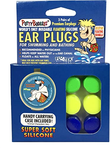 PUTTY BUDDIES Floating Earplugs 3-Pair Pack – Soft Silicone Ear Plugs for Swimming & Bathing – Invented by Physician ...