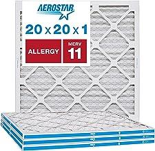 "Aerostar Allergen & Pet Dander 20x20x1 MERV 11 Pleated Air Filter, Made in The USA, (Actual Size: 19 3/4""x19 3/4""x3/4""), 4..."