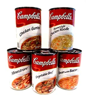 Campbell's Soup WINTER WARM UP Variety 10 Pack + FREE 24 pack of Plastic Spoons. 2 cans each of: BEAN with BACON, MINESTRONE, HOMESTYLE CHICKEN NOODLE, VEGETABLE BEEF, CHICKEN GUMBO.
