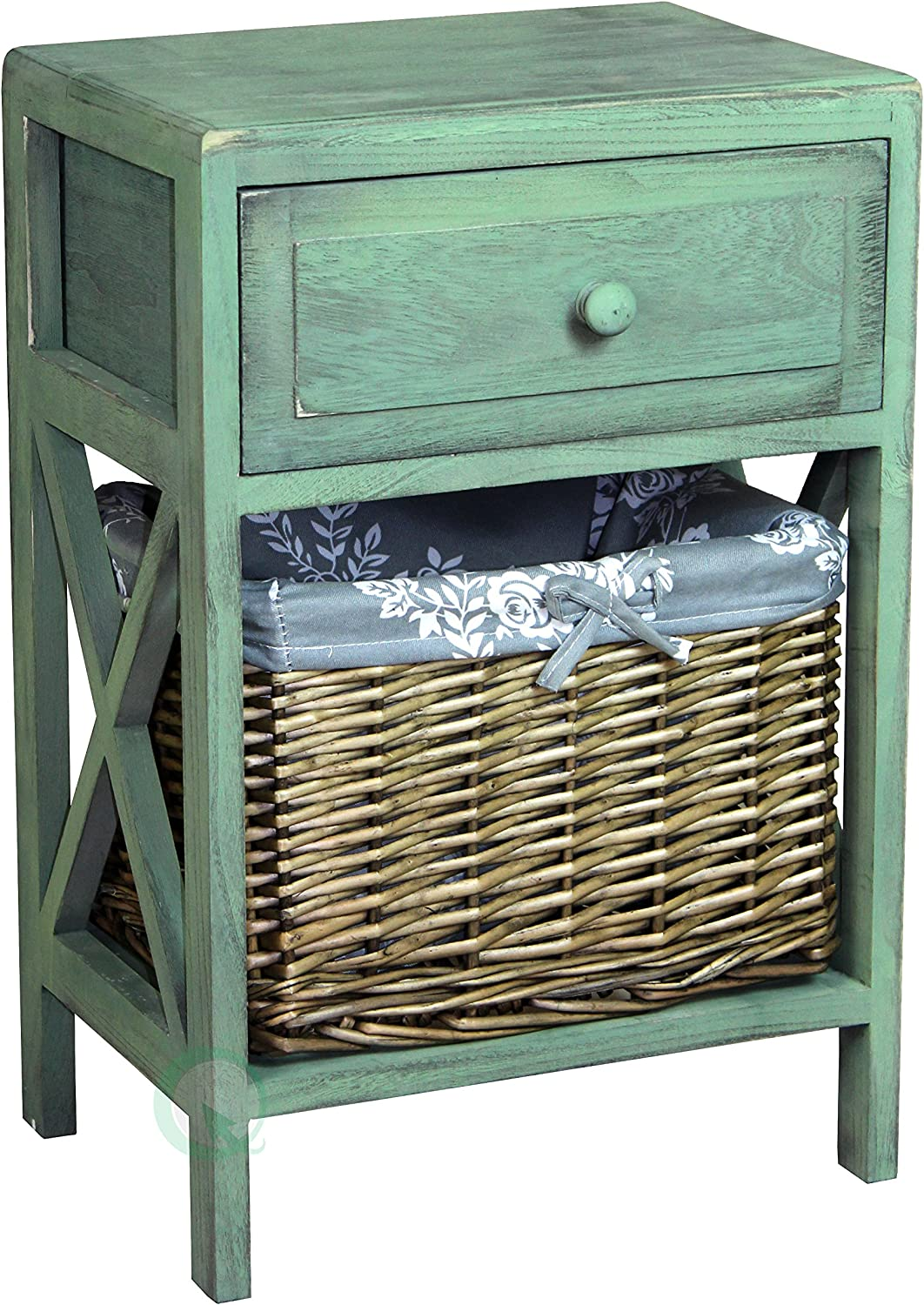 Vintiquewise Distressed Washed Wood Cabinet Chest with Drawer and Basket Bin