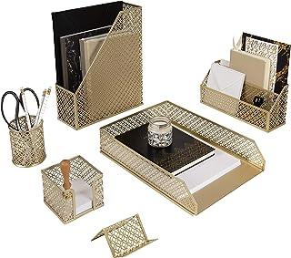 Blu Monaco 5 Piece Cute Gold Desk Organizer Set - Desk Organizers and Accessories for Women - Cute Office Gold Desk Access...