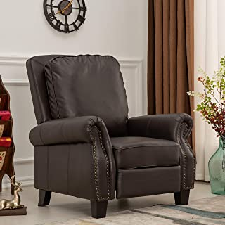 Push Back Manual Recliner PU Leather Single Reclining Armchair Sofa Couch Padded Seat Home Theater Lounge Living Room Seating, 2-Position, Elegant & Comfortable, Home or office, by XTWEEX (Dark Brown)