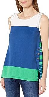 Joan Vass Women's Cotton Sweater With Stripe Back