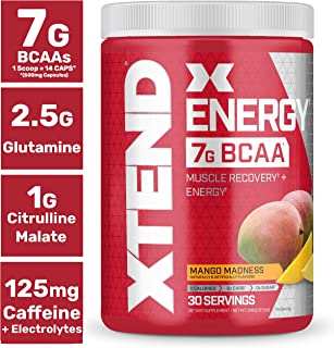Xtend Energy Bcaa Powder Mango | 125mg Caffeine + Sugar Free Pre Workout Muscle Recovery Drink with Amino Acids | 7g bcaas for Men & Women | 30 Servings | Packaging May Vary