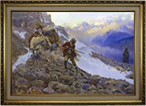 Historic Art Gallery Whose Meat? by Charles M Russell Framed Canvas Print, Size 19x28, Gold