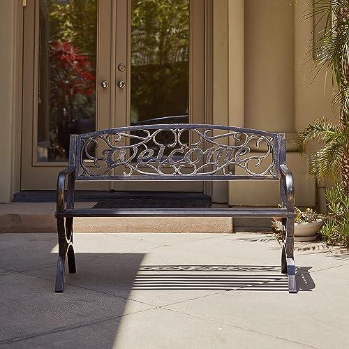 "popular BELLEZE lowest 50"" Welcome Vines Decorative Patio Garden outlet online sale Outdoor Park Bench Seat Backyard, Bronze sale"