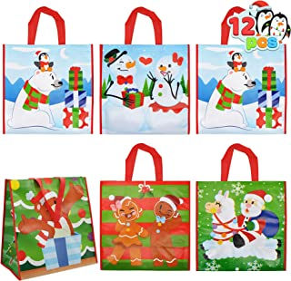 12 Christmas Tote Gift Bags, Extra-large Reusable Bags for Classroom Party Favor Supplies, Xmas Shopping Bags, Holiday Par...