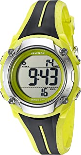 Armitron Sport Women's 45/7063LGN Digital Chronograph Black and Lime Green Resin Strap Watch