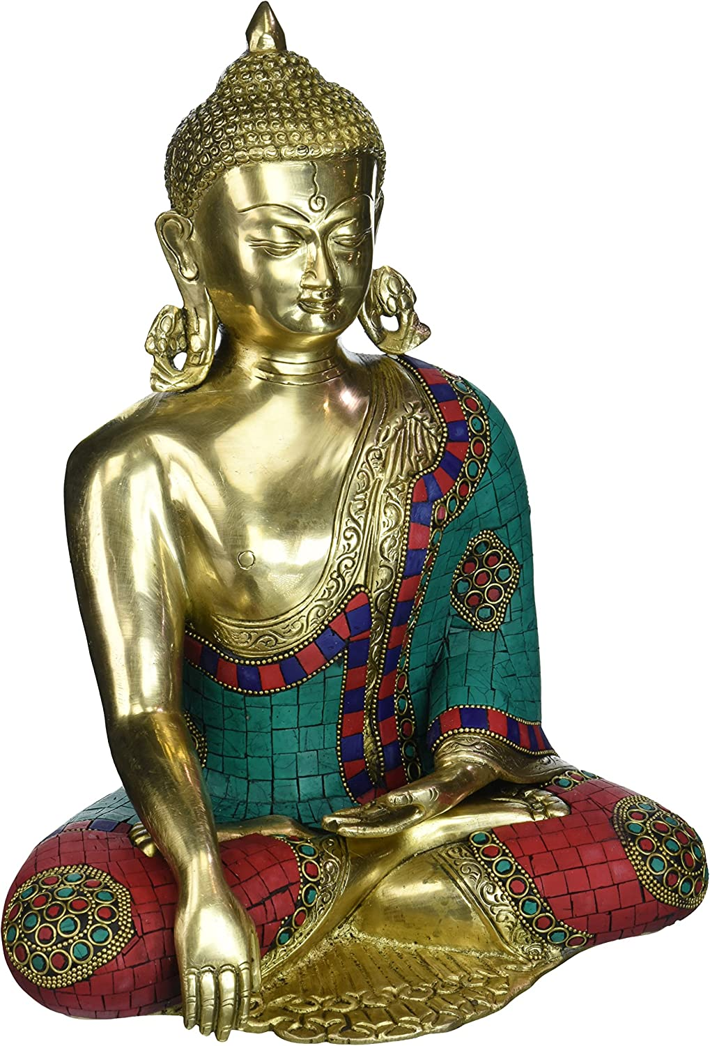 12 Inches Large Buddha High quality new Factory outlet Idol Brass Buddhism Turquoise Sculpture E