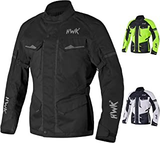Adventure/Touring Motorcycle Jacket For Men Textile Motorbike CE Armored Waterproof Jackets ADV 4-Season (Black, L)