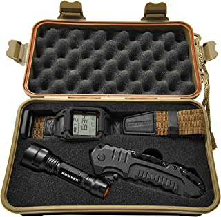 Humvee HMV-RCN-RM1 Recon Mission Kit with Digital Watch, Knife and Tactical LED Flashlight, Black and Tan)