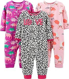 Baby and Toddler Girls' 3-Pack Loose Fit Fleece Footless Pajamas