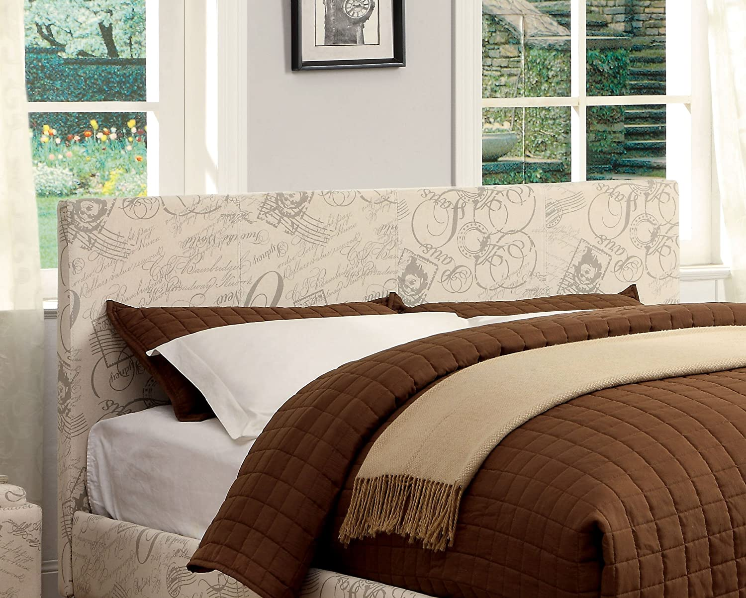 Furniture of America Malena Leatherette Headboard, Full-to-Queen, Ivory Script