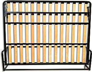 Wallbedking Cama De Matrimonio Abatible Horizontal 150 x 200 cm (Cama Doble Estilo Murphy Bed, Cama Plegable, sofá Cama, Mueble Cama Oculta).