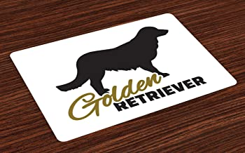 Ambesonne Golden Retriever Place Mats Set of 4, Purebred Dog Black Silhouette with Hand Written Style Inscription, Washable Fabric Placemats for Dining Room Kitchen Table Decor, Sepia Black White