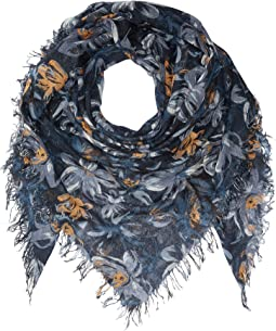 Painterly Floral Silk and Cashmere Scarf
