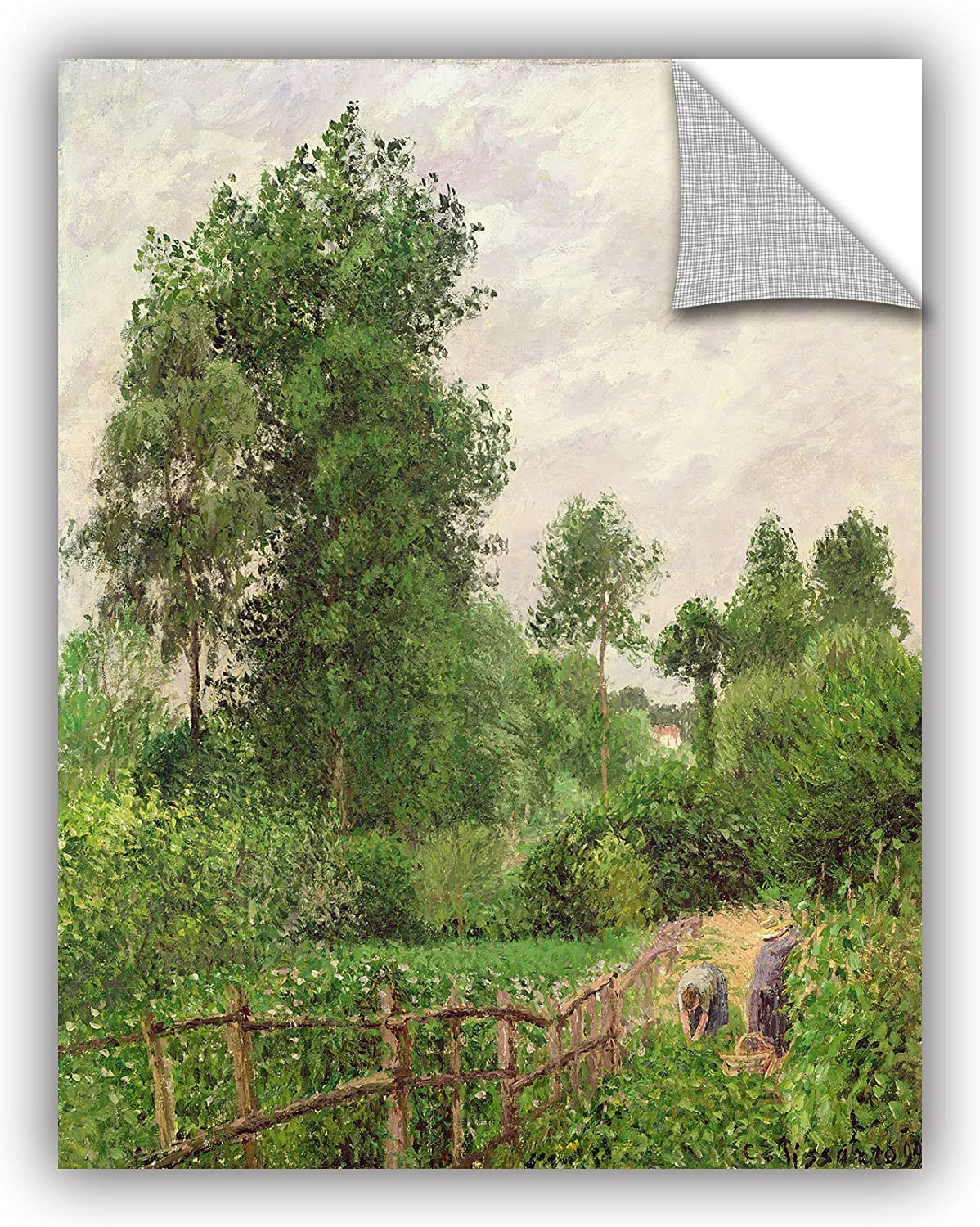 ArtWall Camille Pissarro's Paysage Temps grey A Eragny 1899 Removable Wall Art Mural, 14x18-Inch