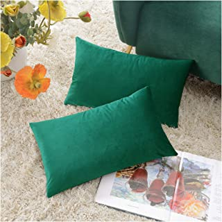COMFORTLAND 12 x 20 Lumbar Pillow Cases Pack of 2 Solid Soft Velvet Decorative Oblong Throw Pillow Covers Set Rectangular Cushion Covers for Farmhouse Indoor Bedroom Sofa Couch Bed Kids,Green