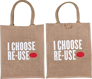 ECOTARA Re-Use Pure Natural Jute Shopping Bag- Natural (Set of 2)
