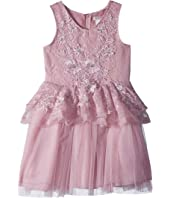 Lace/Tulle Dress with 3D Flowers (Little Kids/Big Kids)