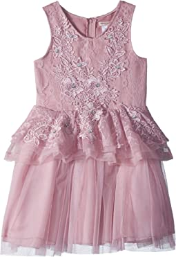 Nanette Lepore Kids Lace/Tulle Dress with 3D Flowers (Little Kids/Big Kids)