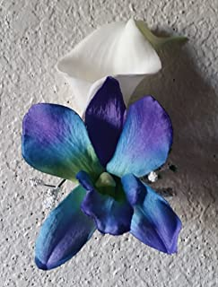 Peacock Purple Blue Turquoise Orchid Calla Lily Corsage or Boutonniere