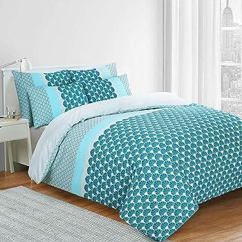 Nimsay Home - Juego de funda de edredón 100% algodón, color azul, algodón, azul, matrimonio: Amazon.es: Hogar
