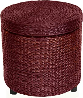 Oriental Furniture Rush Grass Storage Footstool - Red Brown