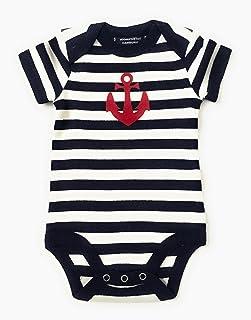 ebbeundflut Baby Body blau/weiß gestreift mit Anker - fair - maritimer Babystrampler von ebbeundflut