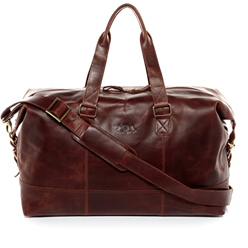 fa4bb674c2 SID   VAIN real leather travel bag holdall YALE Large weekender duffel bag  35l overnight duffle