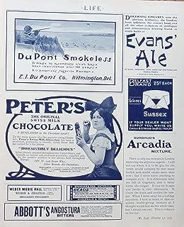 Peter's Chocolate, DuPont Smokerless Shells, Arcadia Mixture, print ad. Rare 1904 B&W Illustration, original 1904 Life Magazine Art