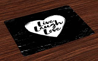 Ambesonne Live Laugh Love Place Mats Set of 4, Illustration of a Grunge Inspired Heart and a Words on Black Background, Washable Fabric Placemats for Dining Table, Standard Size, Black and White