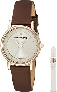 Stuhrling Original Women's 734LS2.SET.02 Symphony Elite Analog  Swiss Quartz Brown Genuine Leather Watch with White Interchangeable Satin Covered Strap