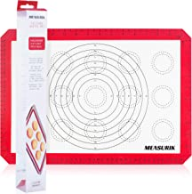 Measurik Silicone Non-Stick Baking Mat - Single Macaron Half Size Baking Mat 11 5/8''(W)16.5''(L) Red Colour Reuseable Foo...