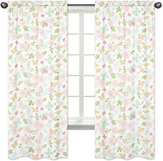 Sweet Jojo Designs Blush Pink, Mint and White Watercolor Rose Window Treatment Panels Curtains for Butterfly Floral Collection - Set of 2