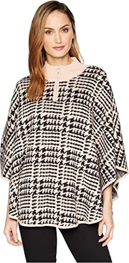 Zip-Neck Poncho w/ Hardware Detail