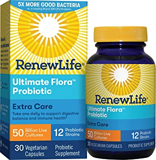 Renew Life Adult Probiotic - Ultimate Flora Extra Care Probiotic Supplement - Gluten, Dairy & Soy Free - 50 Billion CFU - 30 Vegetarian Capsules