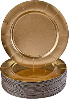 DISPOSABLE ROUND CHARGER PLATES - 40pc (Gold)