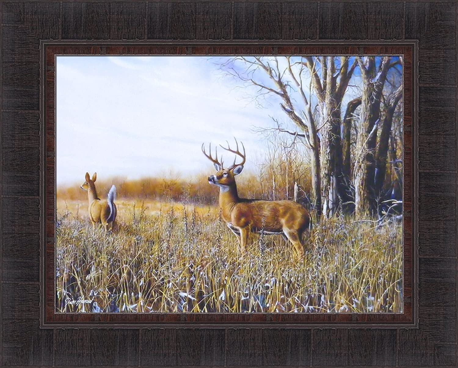 Breaking Cover by Jim Hansel 17x21 Buck Deer Field Online limited product Doe Whitetail Quantity limited