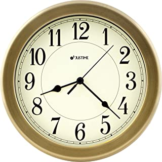 8.5 inch Brushed Metal Water Resistant Wall clock, Special for Small Space, Office, Boats, RV (W86061 Brushed Bronze)