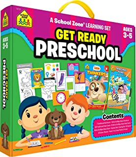 School Zone - Get Ready Preschool Learning Set - Ages 4 to 6, Preschool to Kindergarten, Colors, Shapes, Alphabet, Numbers, Letters, Coloring, Tracing, and More