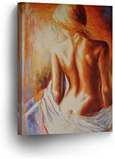 Half Naked Woman Back with White Sheets Sexy Nude Lady Girl Oil Painting Canvas Print Decorative Art Wall Home Decor Artwork Gallery Wrapped Stretched/Ready to Hang-%100 Handmade in The USA- 12x8