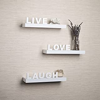 Creative Art Wooden Wall Shelf Live Love Laugh Home Decor Living Room Decor (Red)