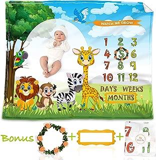 Baby Monthly Milestone Blanket for Boys & Girls, Months, Weeks, Days Photo Prop Blanket, Soft Flannel Fleece Decorative Blanket–100% Wrinkle-Free Huge 48