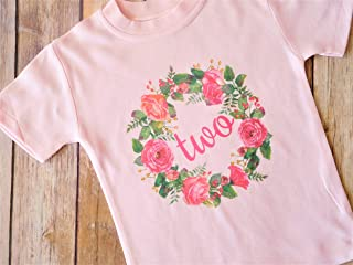 2T Pink Two Year Old T-shirt with Rose Wreath - Second Birthday Party Outift