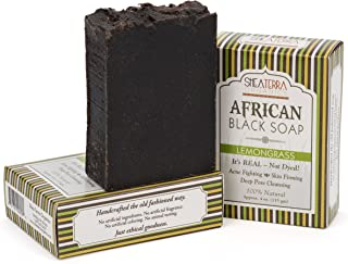 Shea Terra Organics African Black Soap Bar with Lemongrass Oil| Natural Skin Care for Acne, Eczema, Dry Skin, Psoriasis, Wrinkles, and More - Home Spa Treatment Full Body Wash - 3 Pack Gift Set