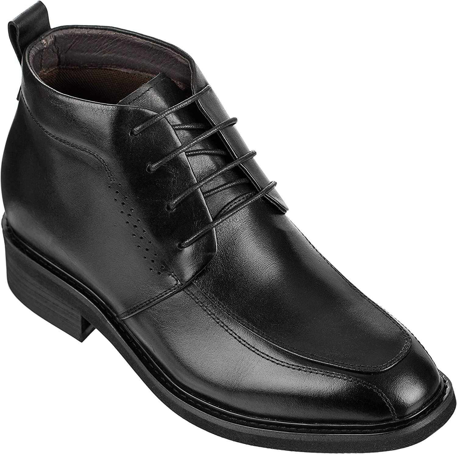 Calden Men's Invisible Height Increasing Elevator shoes - Black Leather Lace-up Dress Formal Ankle Boots - 3 Inches Taller - K28801