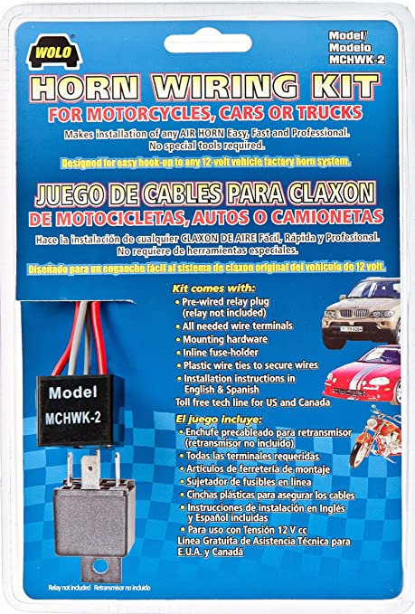Amazon.com: Wolo (MCHWK-2) Air Horn Wiring Kit: Automotive   Wolo Train Horn Wiring Diagram      Amazon.com