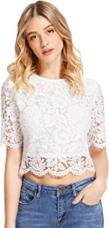 MakeMeChic Women's Short Sleeve Sexy Sheer Blouse Mesh Lace Crop Top